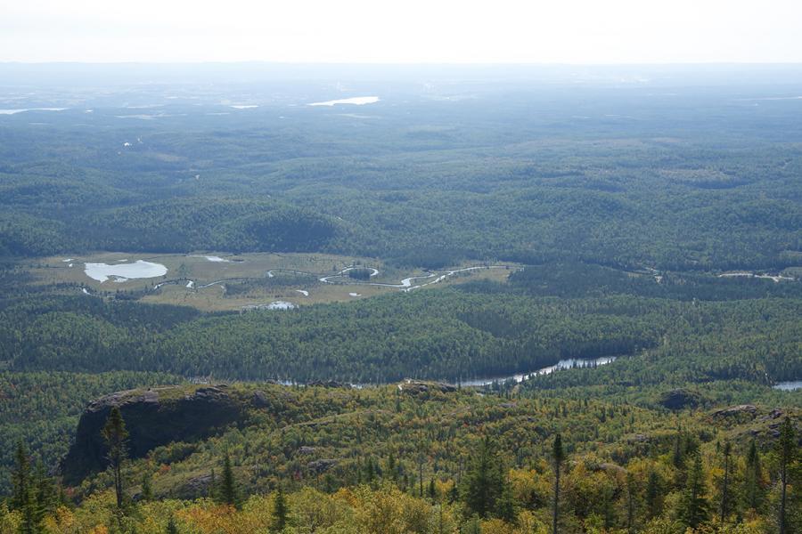A hazy view over Quebec's Parc national des Monts-Valin