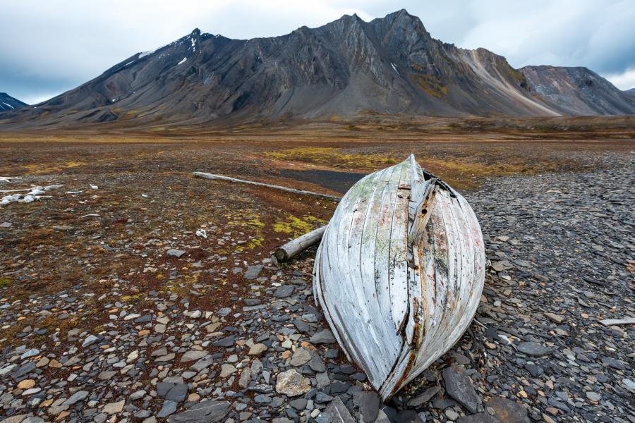 Fishing boat on the shore of Spitsbergen, Svalbard