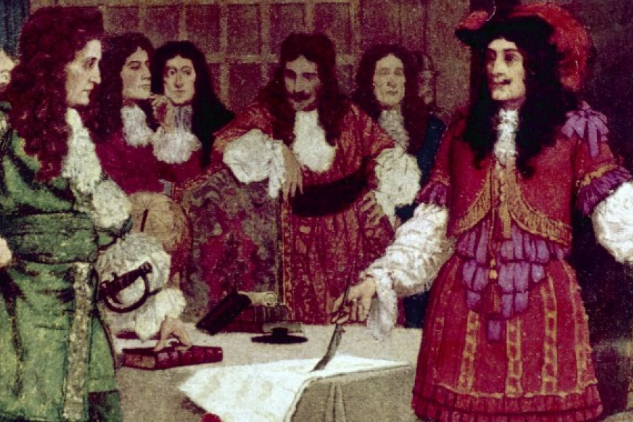 The signing of the HBC Royal Charter by Britain's King Charles II on May 2, 1670.