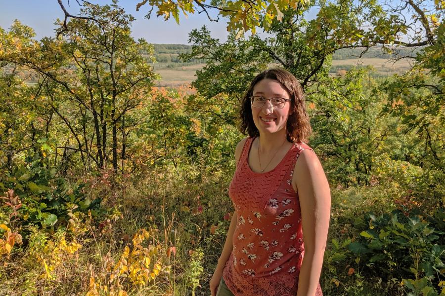 Manitoba teacher on a hike near her hometown