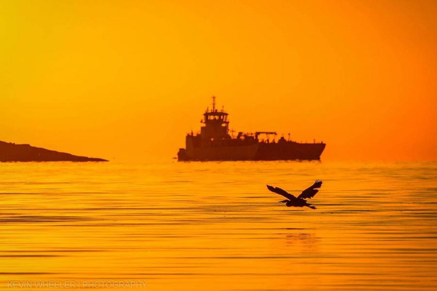 A ship sails through the water against an orange sky
