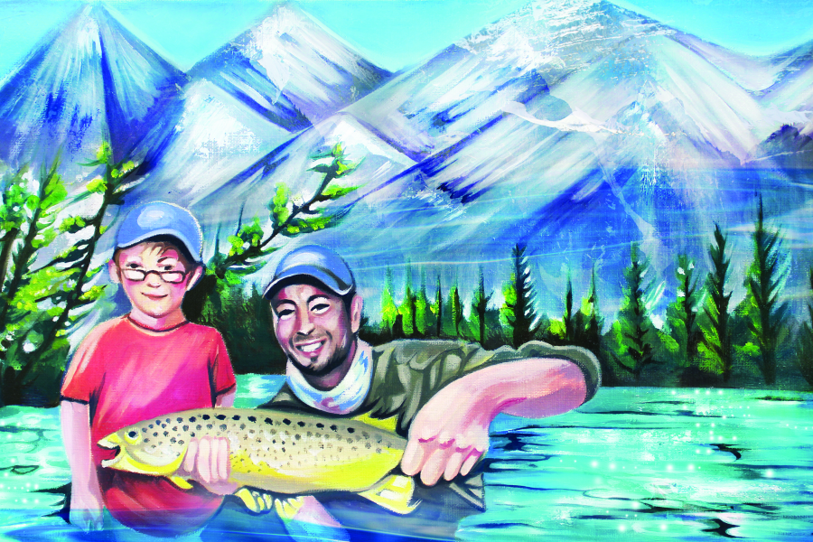 An illustration of Paul Brandt and his child holding up a fish