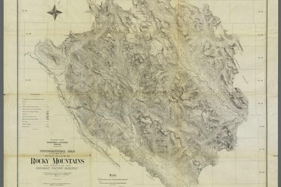 A topographical map of the Canadian Rockies from the early 1900's