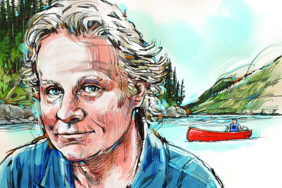 A drawing of Wade David with mountains, a river and a canoe in the background