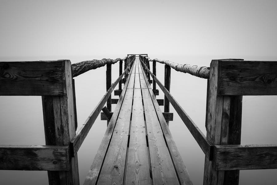 Foggy lake black and white