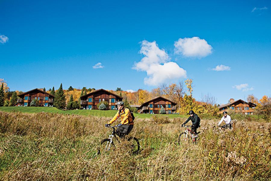 Rick Sokoloff leads riders along the Trapp Family Lodge's bike trails