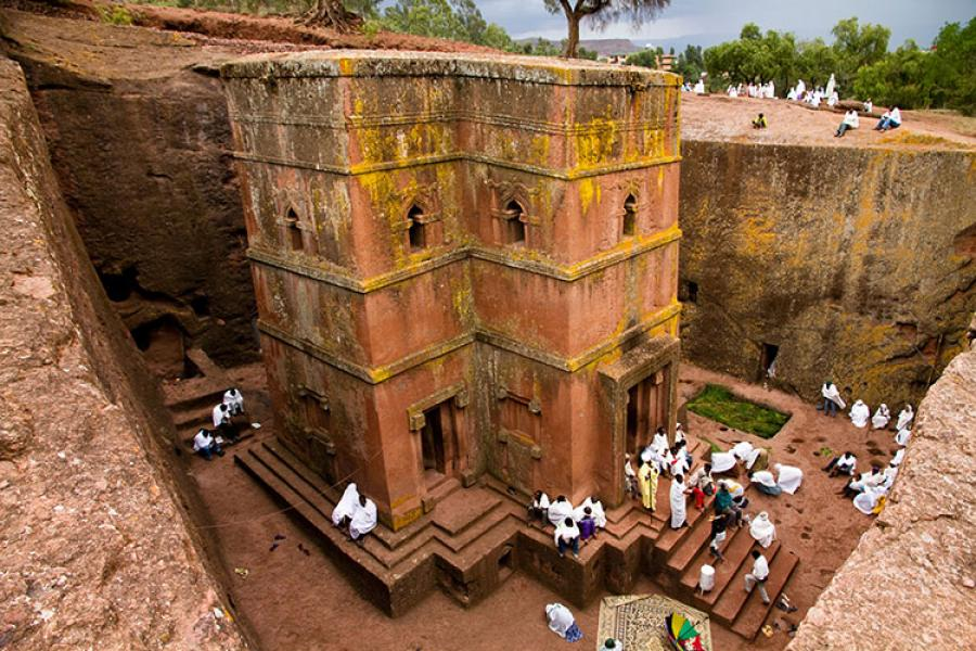 One of 11 monolithic churches in Ethiopia chiseled entirely out of rock