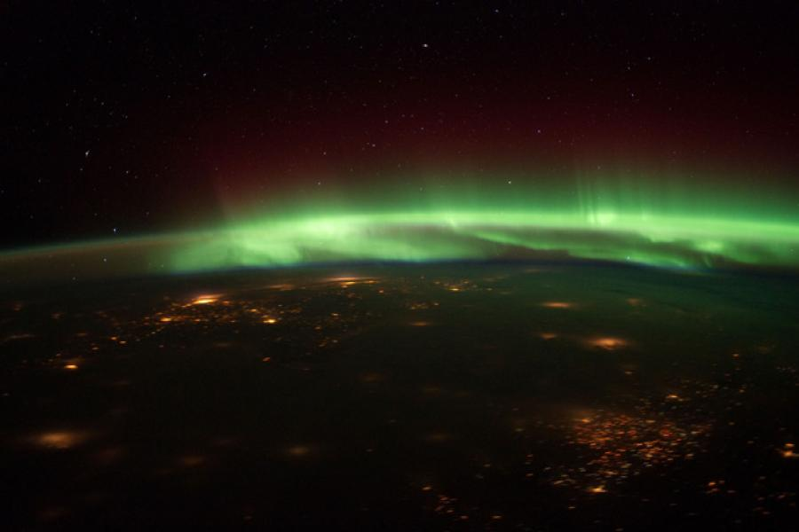Astronauts on the International Space Station have a side view of the aurora borealis