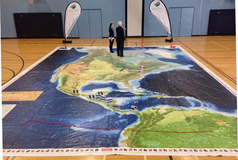 New giant floor map features north american migrations canadian new giant floor map features north american migrations gumiabroncs Image collections