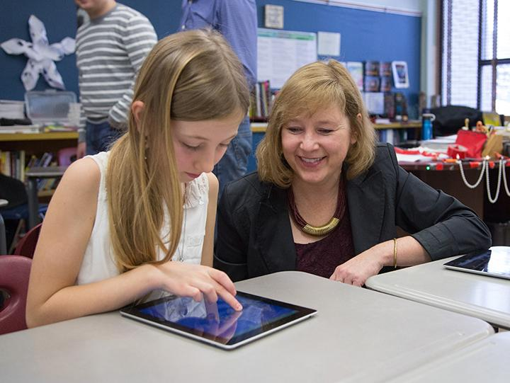 Students from Margaret Leland's Grade 5 class at Connect Charter School in Calgary, Alta. had the opportunity to test out WorldView with Lynn Moorman (right) last month