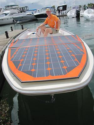 The Humber Foton, a new solar-powered boat on the market, takes four to five days of sunshine to get fully charged