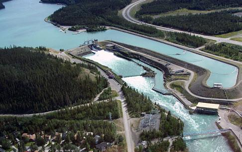 Hydroelectric dams supply the majority of power in the Yukon