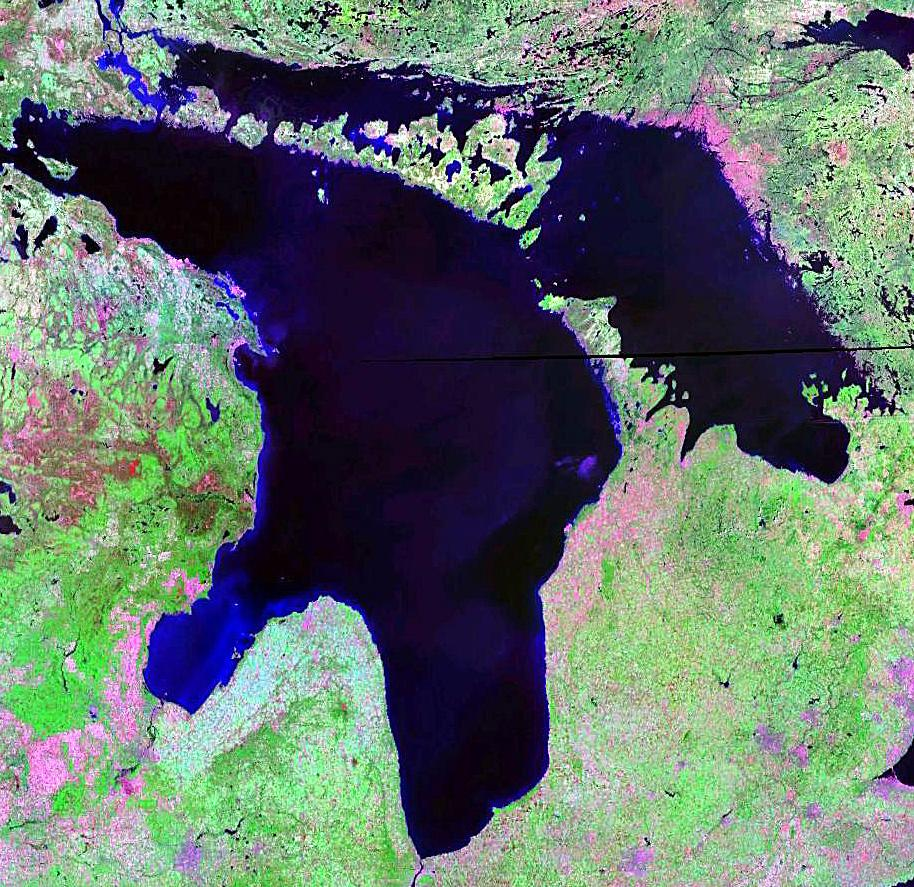 Satellite view of Lake Huron, one of Canada's largest lakes. (Photo: NASA/Wikimedia Commons)