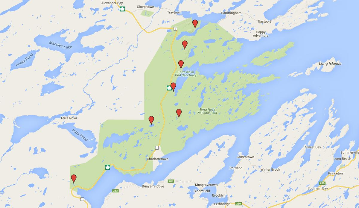 map terra nova attractions canadian geographic