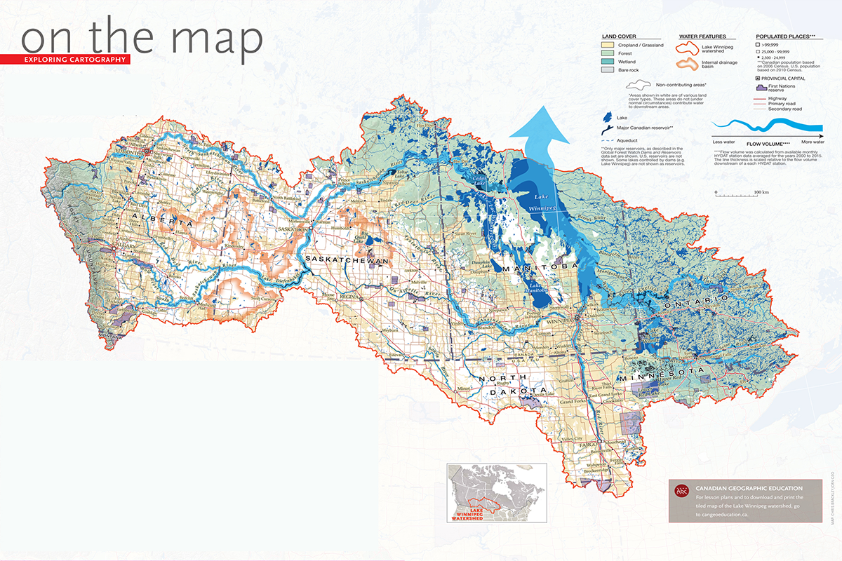 a new map of the vast lake winnipeg watershed created as part of the open water project
