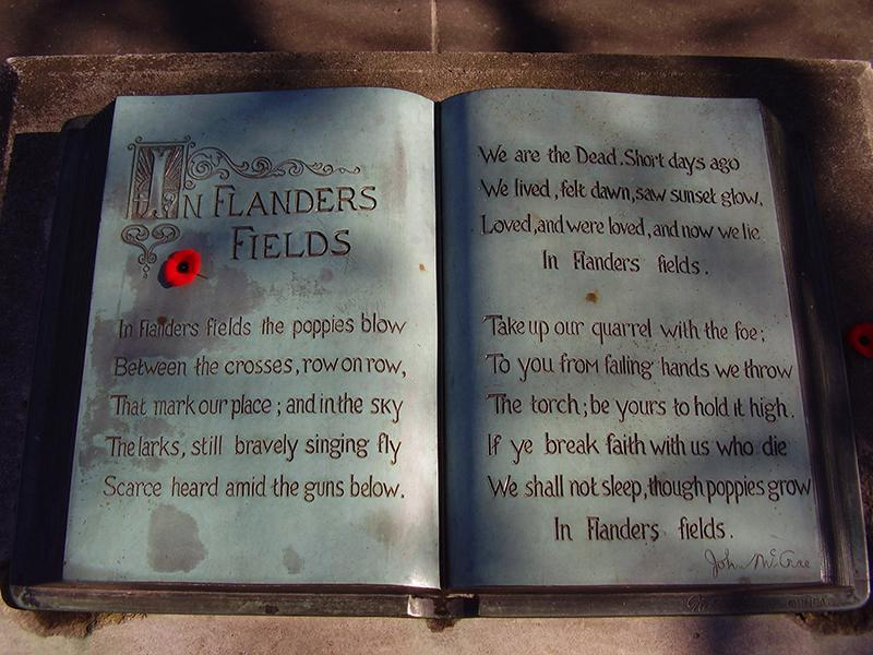 """In Flanders Fields"" poem at McCrae House in Guelph, Ont"