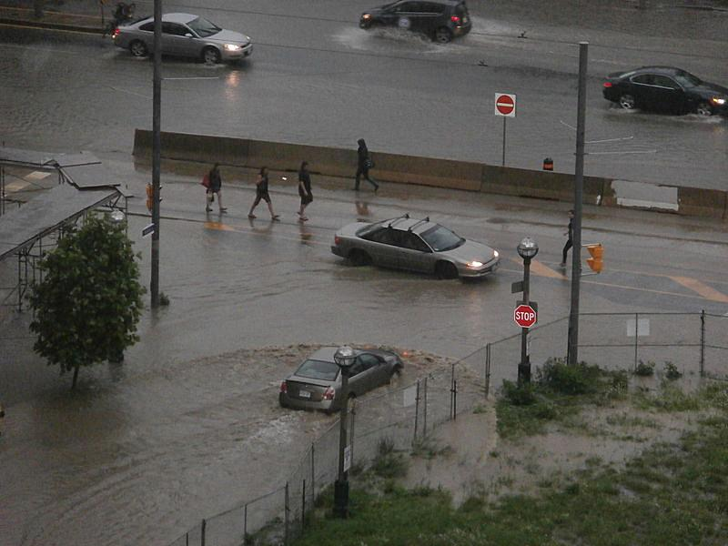 Flash flooding on Toronto streets on July 8, 2013.