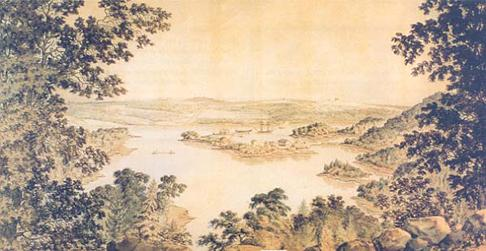 Melville Island viewed from Cowie's Hill looking toward Halifax. (Illustration: George Parkyns)