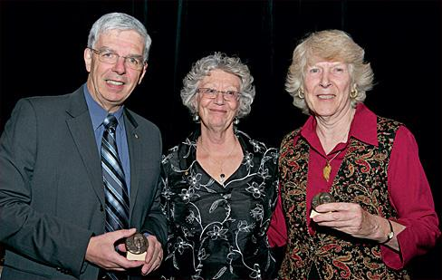 From left to right: Pierre Bergeron, Society past president Gisèle Jacob and Helen Kerfoot  (Photo: David Barbour)