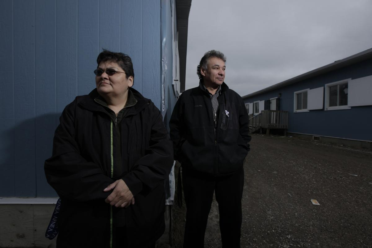 Principal Stella Wesley and vice-principal Wayne Potts dream of a new elementary school with a Cree language classroom. (Photo: Liam Sharp)