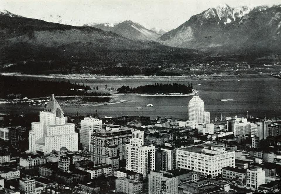 Downtown Vancouver looking toward the North Shore Mountains circa 1936.