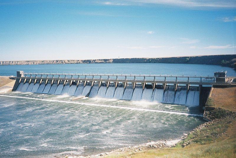 A hydroelectric dam located near Bassano, Alberta.