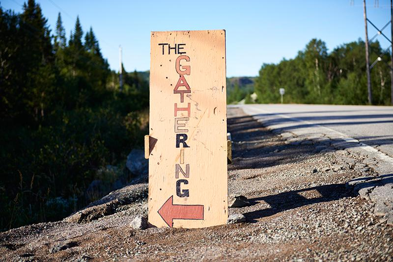 Sign on the corner of Highways 410 and 413, directing motorists to The Gathering in Burlington, N.L.