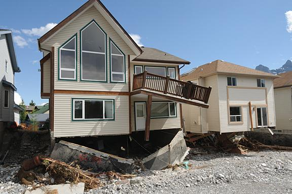 Houses damaged by the floods.