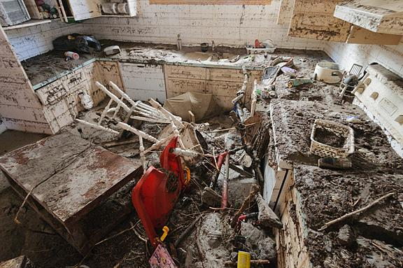 Damage to the basement in Jerry Kobalenko's home.