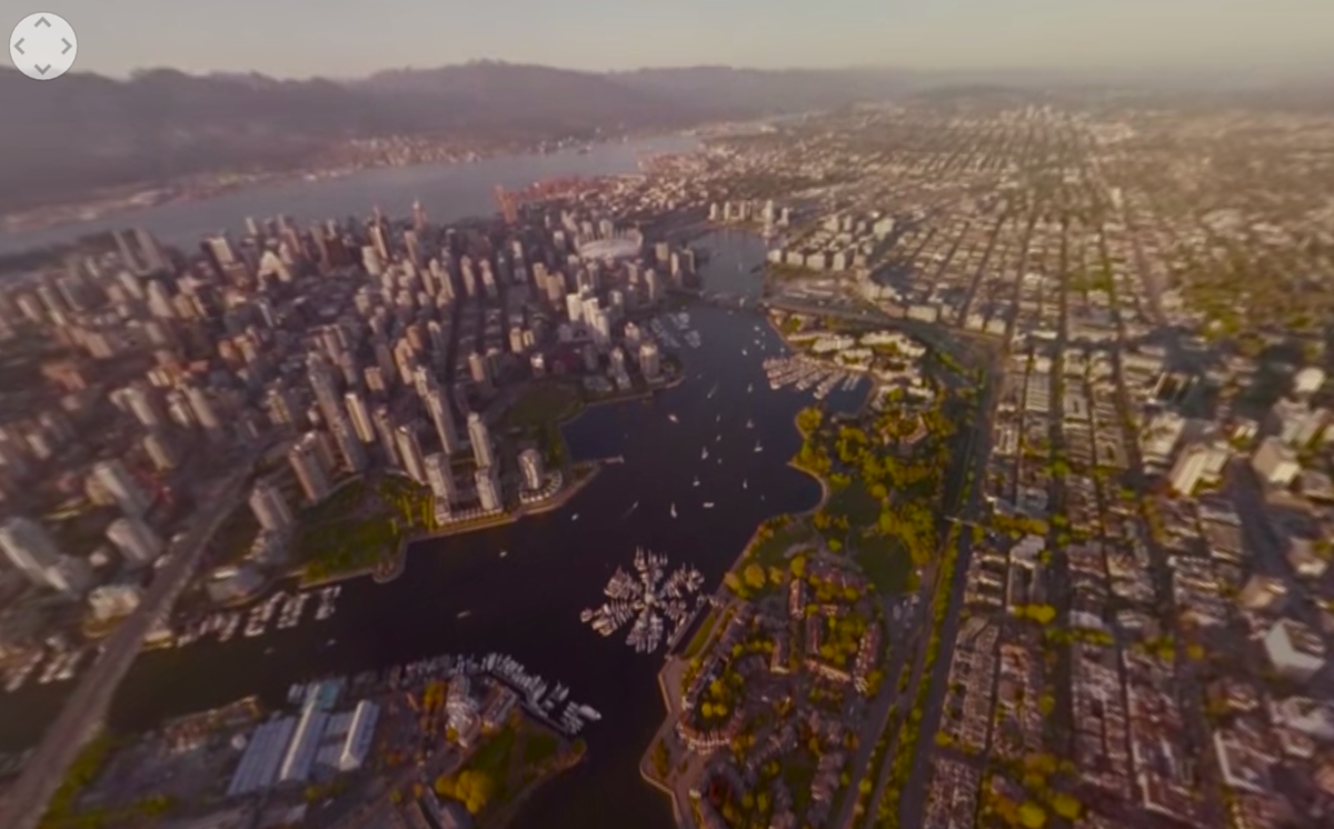 Aerial view of Vancouver, B.C. at sunset