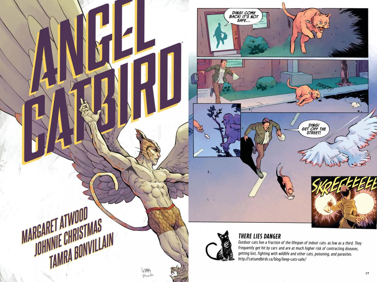 The cover and an inside panel of Angel Catbird