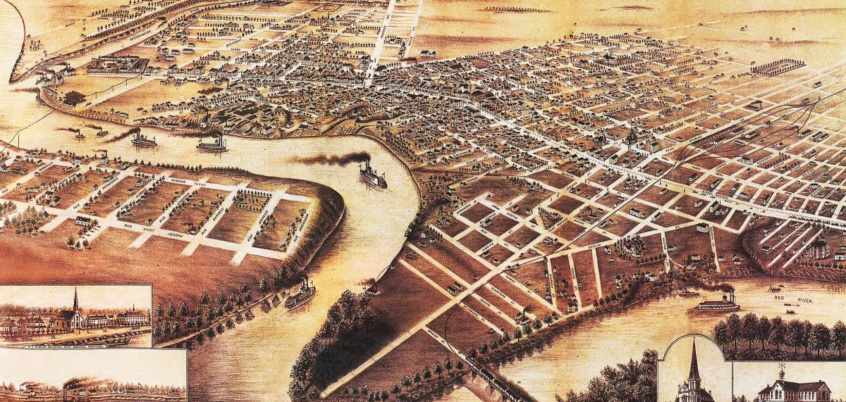 An illustrated panoramic map of Winnipeg circa 1881