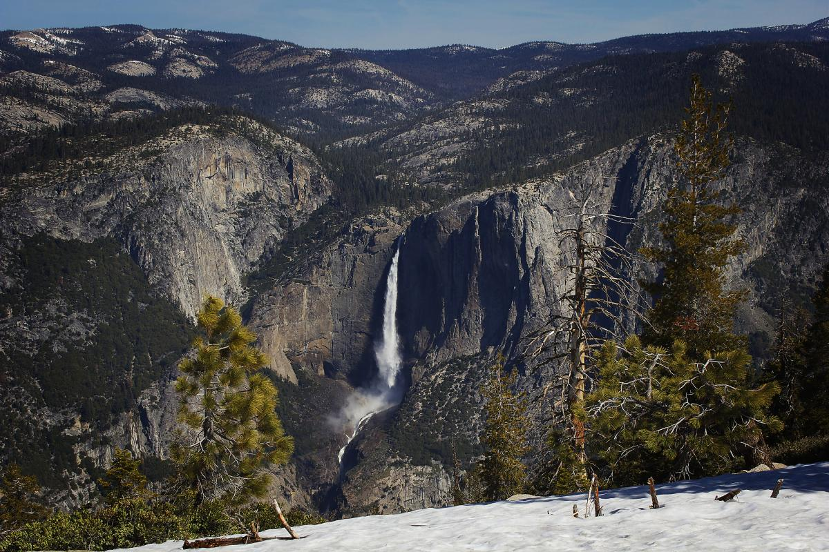 The Yosemite Falls as seen from the summit of Sentinel Dome