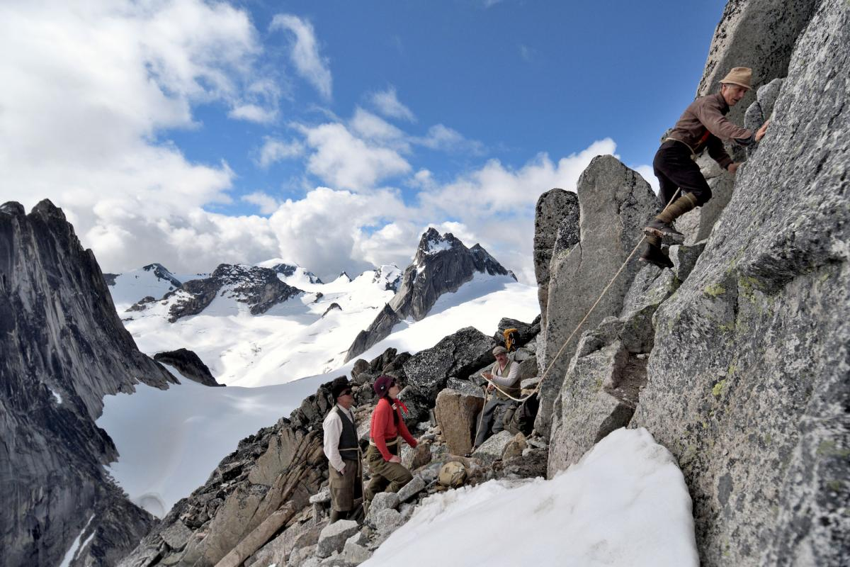 Garry Reiss leads a more technical pitch of the first ascent route that follows the south ridge of Bugaboo Spire