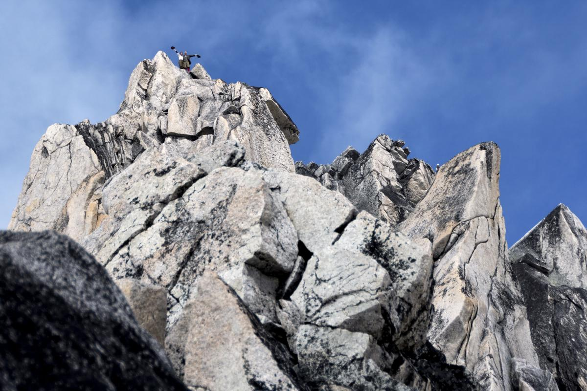 Natalia Danalachi and Rob LeBlanc attain the summit of Bugaboo Spire