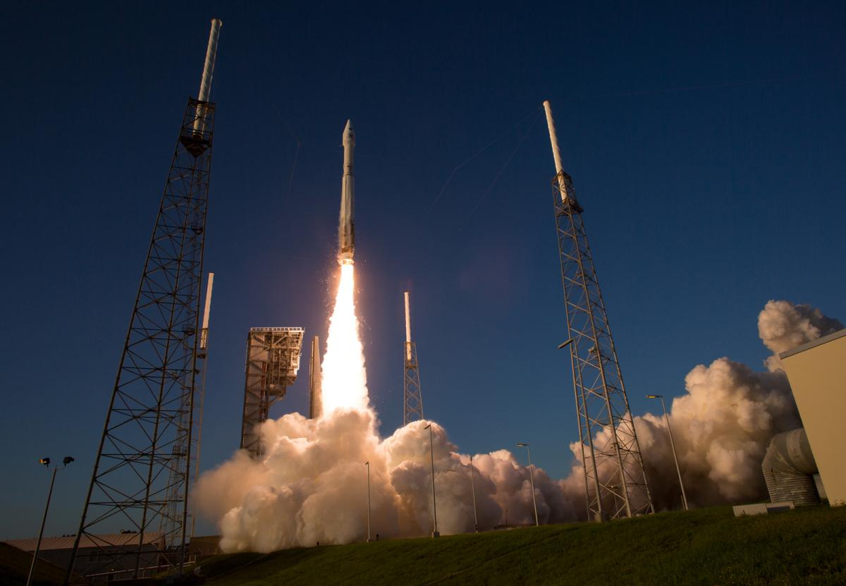 The United Launch Alliance Atlas V rocket carrying NASA's OSIRIS-REx spacecraft lifts off