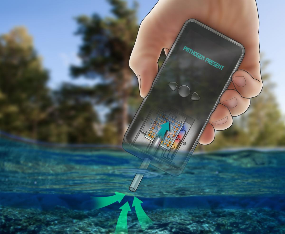 An illustration of a handheld device that would use polymers to test drinking water quality