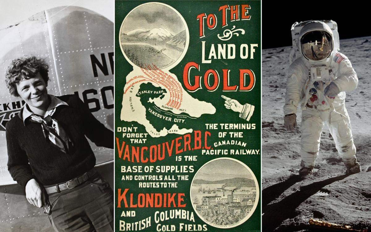 Amelia Earhart; a Klondike Gold Rush poster; the Moon landing