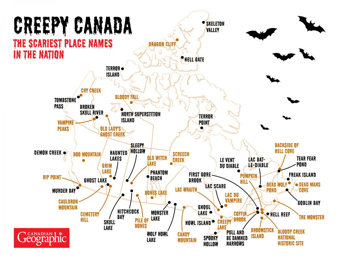 Map: Canada's spookiest place names | Canadian Geographic