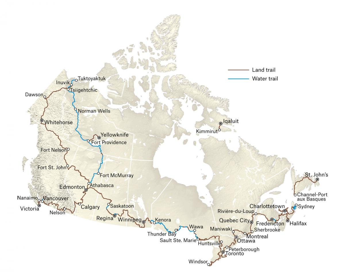 Trail Canada Map The Great Trail nears completion, connecting Canada's three oceans