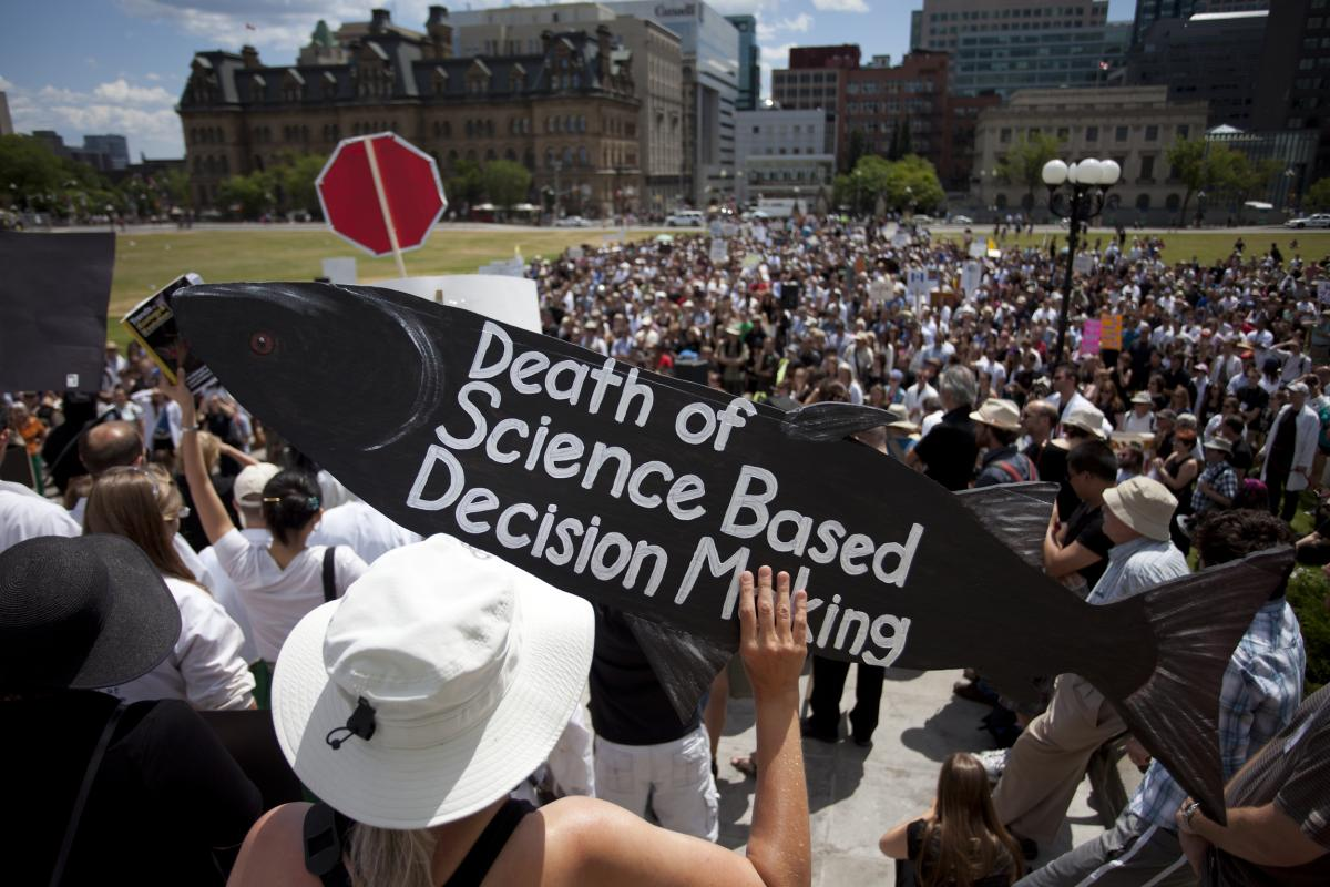 Demonstrators on Parliament Hill in 2012