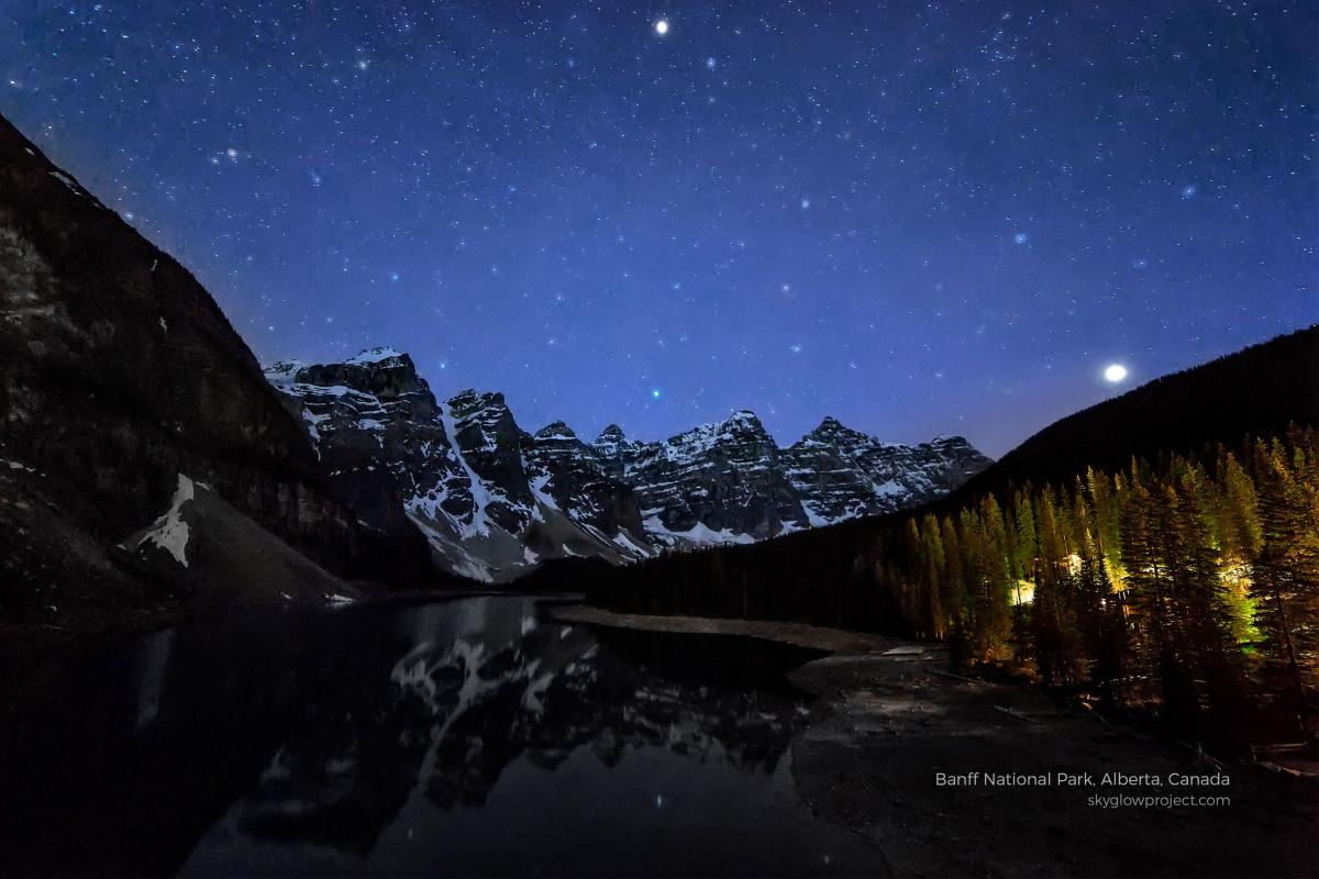 A starlit scene in Banff National Park, part of the Skyglow project