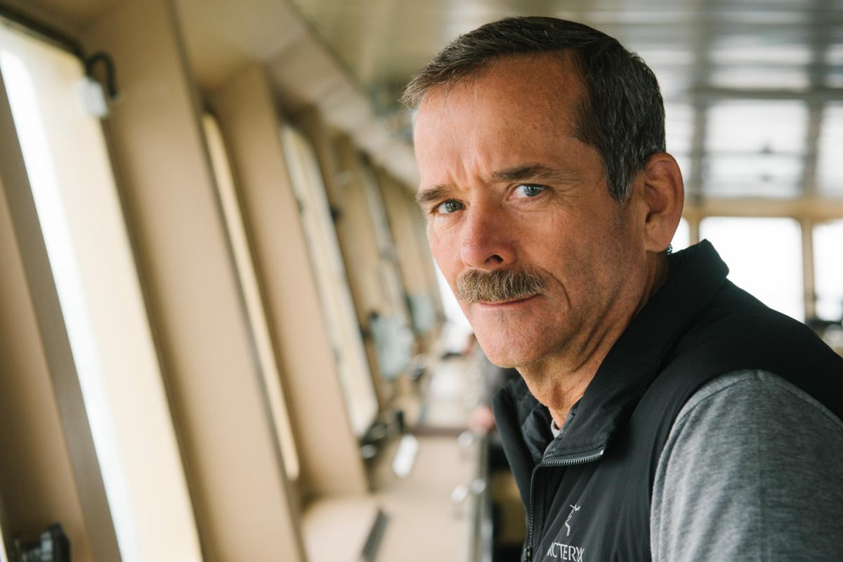 Col. Chris Hadfield in the bridge of the Soviet-era icebreaker, Capitan Khlebnikov. Canadian High Arctic.