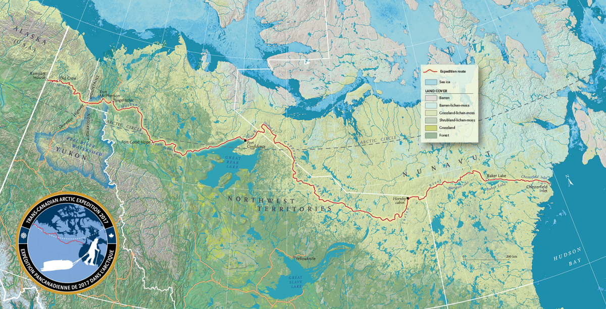 Mapping Adam Shoalts' Across the Arctic expedition ... on
