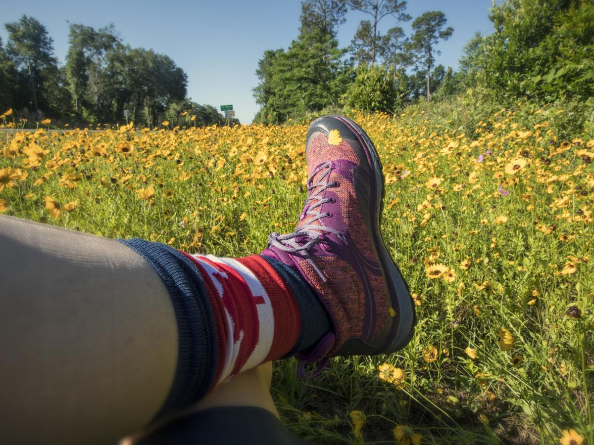 hiking boots, Keen, flowers, field