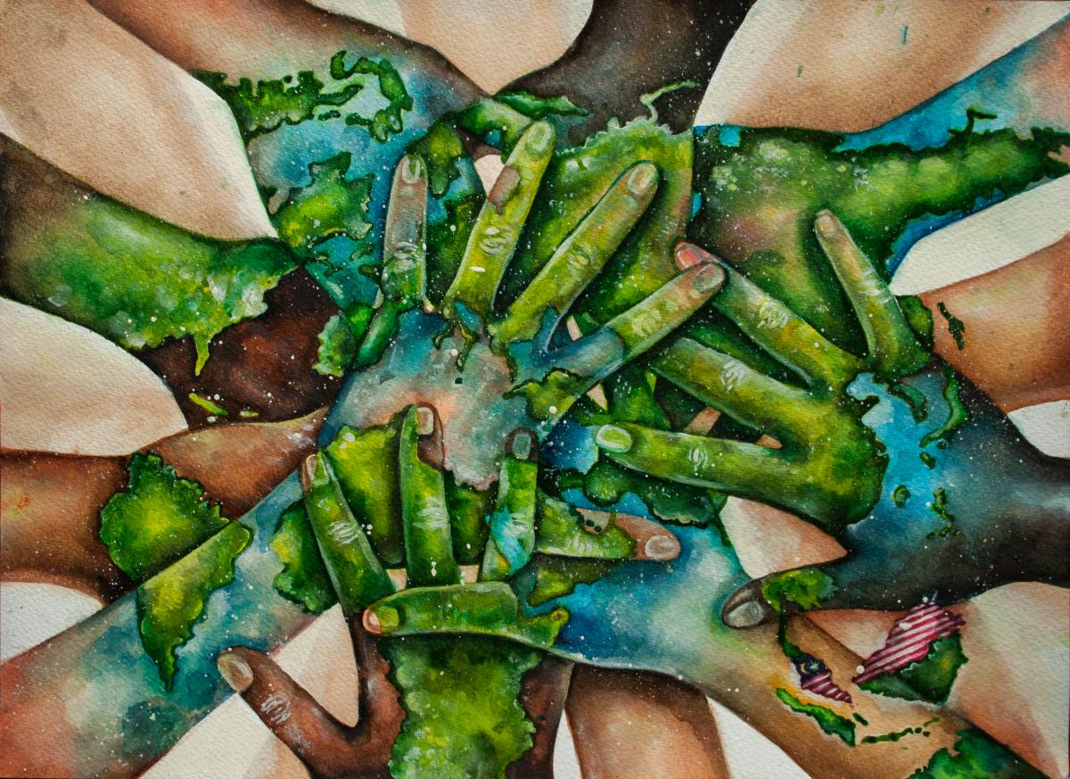 10 amazing world maps created by children canadian geographic hands all meeting in centre from all around the world skin painted green and blue gumiabroncs Images