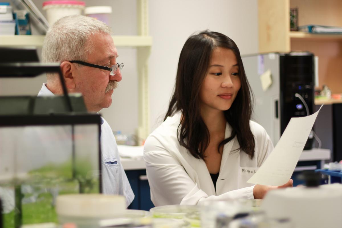 Professor Marek Michalak and graduate student Wen-An (Jennifer) Wang