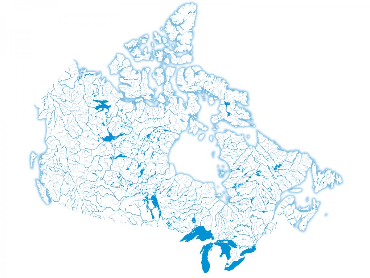 Freshwater map of Canada by Chris Brackley of Canadian Geographic