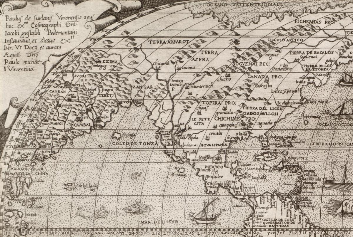 portion of paolo forlanis 1560 map of the world showing canada for the first