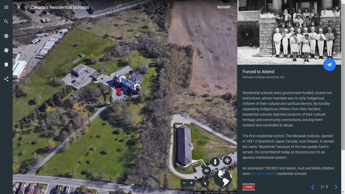 Mapping Canada's history of residential schools with Google Earth